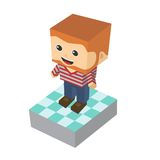 Block isometric cartoon character Stock Photos