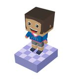 Block isometric cartoon character Stock Images