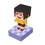 Block isometric cartoon character Royalty Free Stock Image