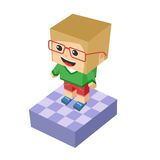 Block isometric cartoon character Stock Photography