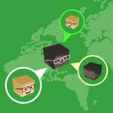 Block isometric cartoon chat Stock Photos