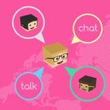 Block isometric cartoon chat Royalty Free Stock Photography