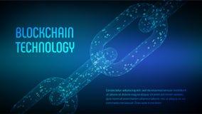 Block-Kette Schlüsselwährung Blockchain-Konzept wireframe 3D Kette mit digitalem Code Editable Cryptocurrency-Schablone Stockfoto