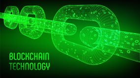 Block-Kette Schlüsselwährung Blockchain-Konzept wireframe 3D Kette mit digitalem Code Editable Cryptocurrency-Schablone Stockbild