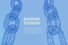 Block-Kette Schlüsselwährung Blockchain-Konzept wireframe 3D Kette mit digitalem Code Editable Cryptocurrency-Schablone Lizenzfreie Stockfotos