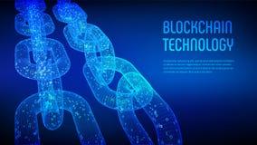 Block-Kette Schlüsselwährung Blockchain-Konzept wireframe 3D Kette mit digitalem Code Editable Cryptocurrency-Schablone Vorrat VE Stockfoto