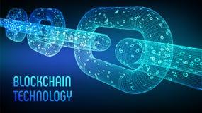 Block-Kette Schlüsselwährung Blockchain-Konzept wireframe 3D Kette mit digitalem Code Editable Cryptocurrency-Schablone Vorrat VE Stockbilder