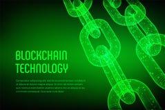 Block-Kette Schlüsselwährung Blockchain-Konzept wireframe 3D Kette mit digitalem Code Editable Cryptocurrency-Schablone Vorrat VE Lizenzfreie Stockfotografie