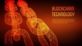 Block-Kette Schlüsselwährung Blockchain-Konzept wireframe 3D Kette mit digitalem Code Editable Cryptocurrency-Schablone Vorrat VE Stockbild