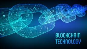 Block-Kette Schlüsselwährung Blockchain-Konzept wireframe 3D Kette mit digitalem Code Editable Cryptocurrency-Schablone Vorrat VE Lizenzfreie Stockfotos