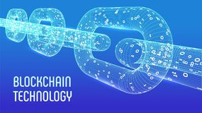 Block-Kette Schlüsselwährung Blockchain-Konzept wireframe 3D Kette mit digitalem Code Editable Cryptocurrency-Schablone Vorrat VE Lizenzfreies Stockbild