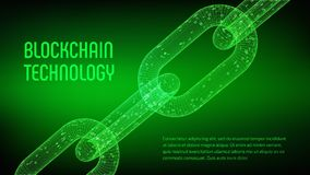 Block-Kette Schlüsselwährung Blockchain-Konzept wireframe 3D Kette mit digitalem Code Editable Cryptocurrency-Schablone Vorrat VE Stockfotografie