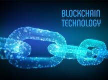 Block-Kette Schlüsselwährung Blockchain-Konzept wireframe 3D Kette mit digitalen Blöcken Editable Cryptocurrency-Schablone ablage Stockbild