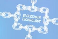 Block-Kette Schlüsselwährung Blockchain-Konzept wireframe 3D Kette mit digitalen Blöcken Editable Cryptocurrency-Schablone ablage Lizenzfreie Stockfotografie