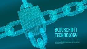 Block-Kette Schlüsselwährung Blockchain-Konzept wireframe 3D Kette und isometrischer digitaler Block mit digitalem Code Editable  Vektor Abbildung