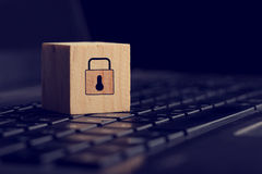 Block with Lock Graphic on Computer Keyboard Stock Image