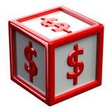 Block mit dem Zeichendollar lokalisiert auf weißem Hintergrund Stockfoto