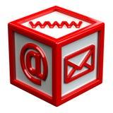 Block mit Zeichen: Umschlag, WWW, E-Mail Lizenzfreie Stockfotos