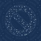 Block network symbol. Admirable constellation style symbol. Appealing network style. Modern design. Block symbol for infographics or presentation Stock Images