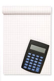 Block note with black calculator Royalty Free Stock Photography