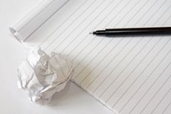 Block note and pen Stock Image
