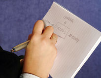 Block notes. Close-up of a woman taking notes on a paper royalty free stock photos