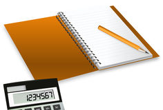 Block Notes With Calculator. And a pencil Royalty Free Stock Image
