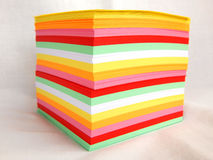 Block notes. Isolated yellow-pink-red-white-green-orange block notes Stock Photography