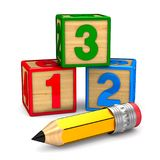 Block with number and pencil on white background. Isolated 3D il. Lustration stock illustration