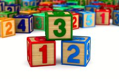 Block with number on white background. 3D illustration.  royalty free illustration