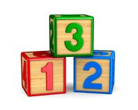 Block with number on white background. Isolated 3D illustration.  Royalty Free Stock Photo