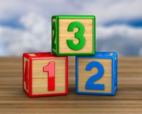 Block with number on wooden surface. 3D illustration.  vector illustration