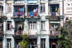 Old flats, Yangon, Burma. A block of old flats in the center of downtown Yangon in Myanmar Royalty Free Stock Image