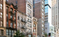 Block of old historic buildings along 23rd Street in Manhattan N Royalty Free Stock Photography