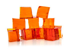 Block of orange jelly cubes Royalty Free Stock Photo