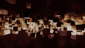 Block particles light and dark. 3D rendering. 3d rendering of contrasting light and dark particles blocks. Sepia colored cube shapes floating on a black Royalty Free Stock Photo