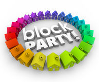 Block Party Houses Neighborhood Community Celebration Event Stock Image