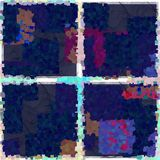 Block pattern scruffy background. Purple, blue, pink and red scruffy block pattern background. Yarn rug like texture Stock Photo