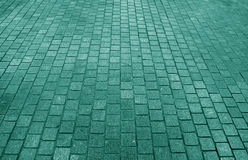 Block paved pathway in sea green color, for background Stock Photos