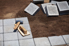 Block pavement under construction Royalty Free Stock Images