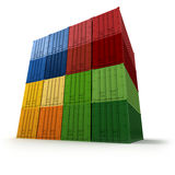 Block of piled cargo containers Royalty Free Stock Photo
