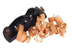 Block Plane and Wood Curls Stock Images