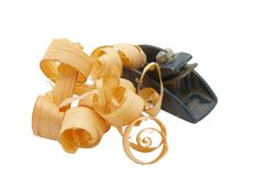 Block Plane and Wood Curls Royalty Free Stock Photography