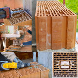 Block poroton placed on a bed grout on a bricklayer Stock Photo
