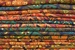 Block printed fabrics Stock Photography