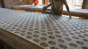 Block Printing For Textile In India. Jaipur Block Printing Traditional Process Royalty Free Stock Photography