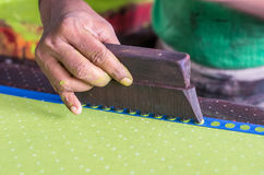 Block printing. On textile in India stock images