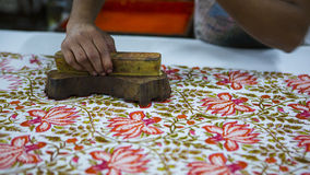Block Printing for Textile in India. Jaipur Block Printing Tradi. Tional Process. Wooden Block Printing with oriental ornament for Fabric. Traditional painting Stock Photography