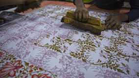 Block Printing for Textile in India. Jaipur Block Printing Traditional Process. Wooden Block Printing with oriental ornament for Fabric. Traditional painting stock photography