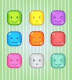 Block puzzle colorful candy button glossy jelly in different color. 2d asset for user interface GUI in mobile application or casual video game. Vector for web Royalty Free Stock Photos